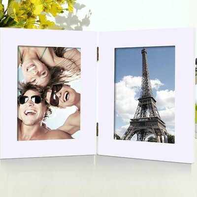 2 Opening Decorative Table Desk Top Picture Frame Color: White