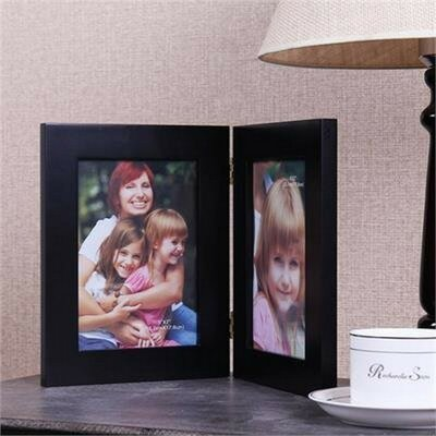 2 Opening Decorative Table Desk Top Picture Frame Color: Black