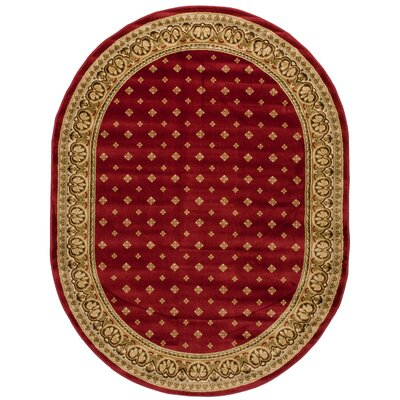 Devon Wine/Beige Border Area Rug Rug Size: Rectangle 93 x 126