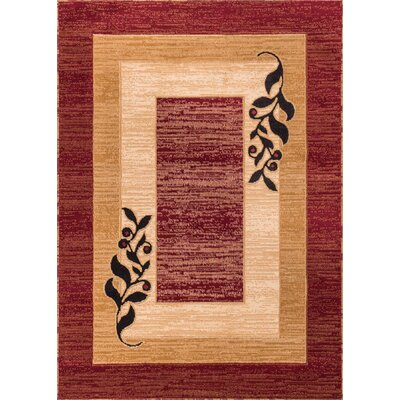 Dewsbury Red/Brown Twigs Area Rug Rug Size: Rectangle 33 x 53
