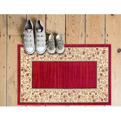 Dinah Red Wine Floral Border Area Rug Rug Size: Rectangle 710 x 910