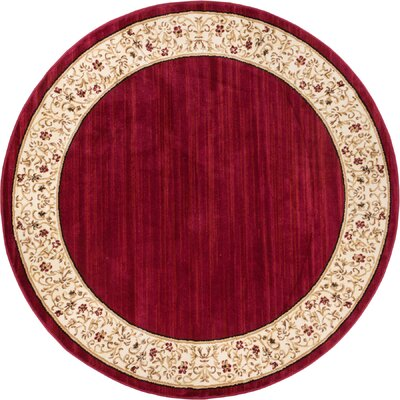 Dinah Red Wine Floral Border Area Rug Rug Size: Round 53
