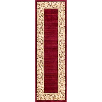Dinah Red Wine Floral Border Area Rug Rug Size: Runner 23 x 73