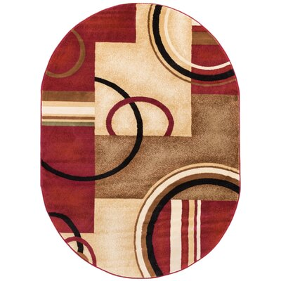 Dogwood Red Arcs and Shapes Modern Area Rug Rug Size: Oval 710 x 910