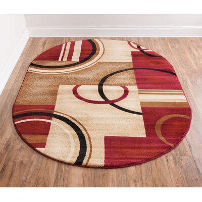 Dogwood Red Arcs and Shapes Modern Area Rug Rug Size: Oval 67 x 96