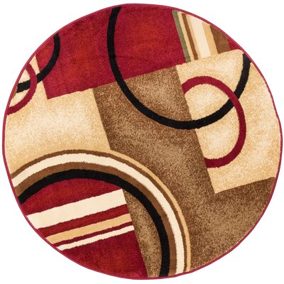 Dogwood Red Arcs and Shapes Modern Area Rug Rug Size: Round 311