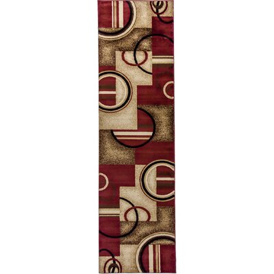 Dogwood Red Arcs and Shapes Modern Area Rug Rug Size: Runner 27 x 910