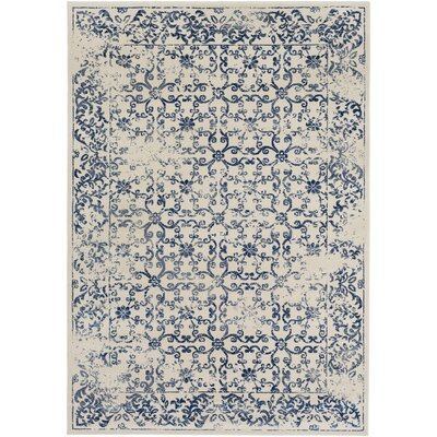 Wren Beige/Navy Area Rug Rug size: Rectangle 710 x 106
