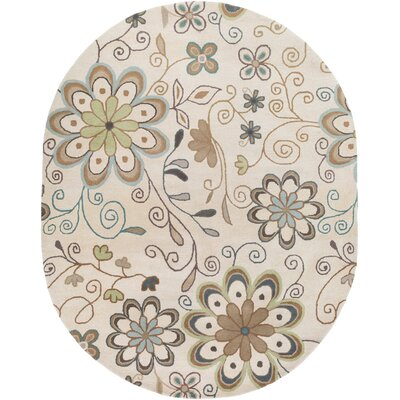 Monticello Beige Floral Area Rug Rug Size: Oval 8 x 10