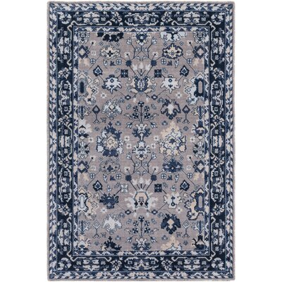 Akins Gray/Blue Area Rug Rug Size: Rectangle 53 x 76