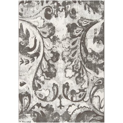 Rome Gray Flower Rug Rug Size: Rectangle 53 x 76