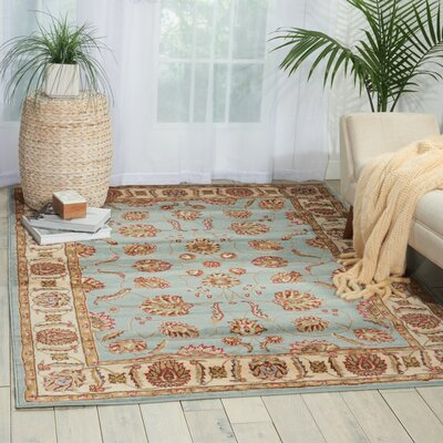 Renningers Beige/Blue Area Rug Rug Size: Rectangle 53 x 73