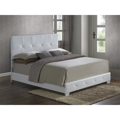 Newbury Upholstered Panel Bed Size: King, Color: White