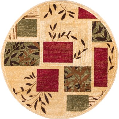 Abbie Foliage Patch Area Rug Rug Size: Round 53