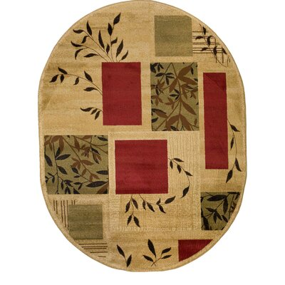 Elsworth Foliage Patch Area Rug Rug Size: Oval 53 x 610