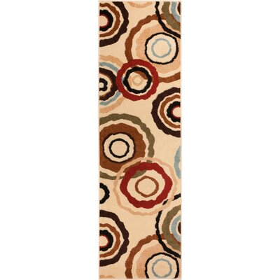 Caroline Pop In & Out Circles Ivory Area Rug Rug Size: Runner 23 x 73