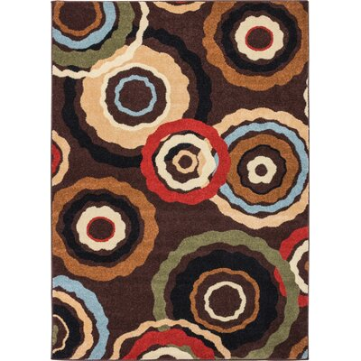 Caroline Pop In And Out Circles Brown Area Rug Rug Size: 33 x 47