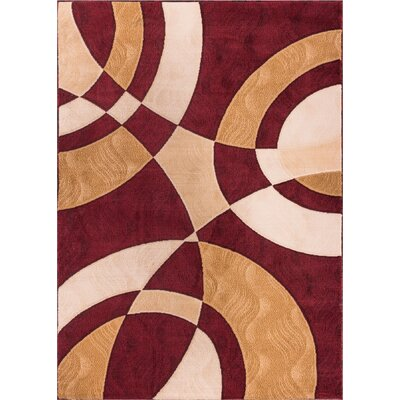 Symone Red Area Rug Rug Size: 93 x 126
