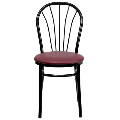 Tower Fan Back Metal Chair Finish: Burgundy