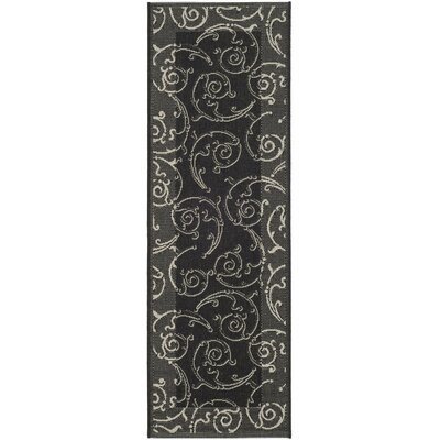Short Black/Sand Swirl Indoor/Outdoor Area Rug Rug Size: Runner 23 x 14