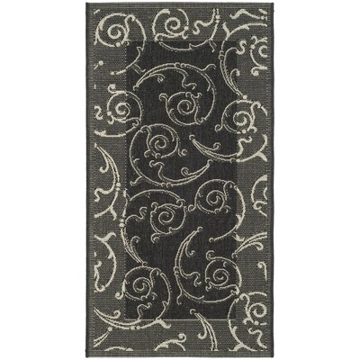 Short Black/Sand Swirl Indoor/Outdoor Area Rug Rug Size: Rectangle 53 x 77