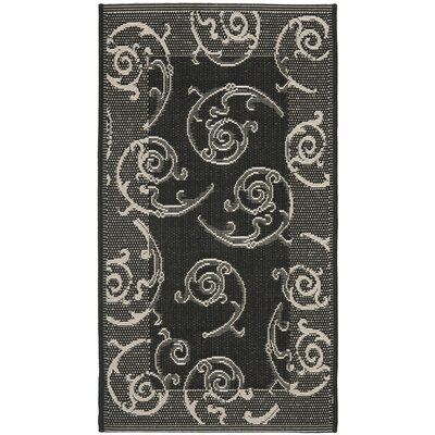 Alberty Black/Sand Swirl Indoor/Outdoor Area Rug Rug Size: Rectangle 2 x 37