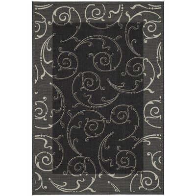 Alberty Black/Sand Swirl Indoor/Outdoor Area Rug Rug Size: Rectangle 67 x 96