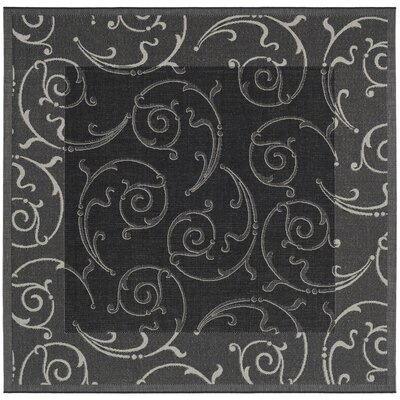 Alberty Black/Sand Swirl Indoor/Outdoor Area Rug Rug Size: Square 710