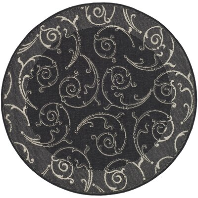 Short Black/Sand Swirl Indoor/Outdoor Area Rug Rug Size: Round 67