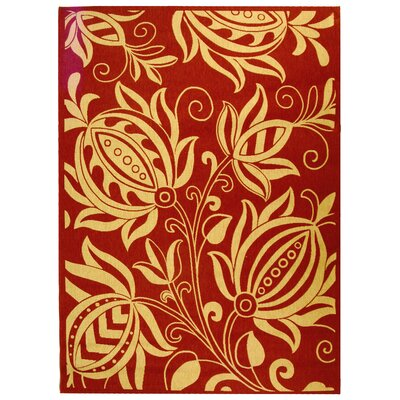 Short Red/Natural Indoor/Outdoor Area Rug Rug Size: Rectangle 2 x 37