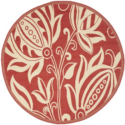 Short Red/Natural Indoor/Outdoor Area Rug Rug Size: Round 710