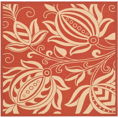 Short Red/Natural Indoor/Outdoor Area Rug Rug Size: Square 710