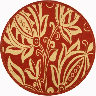 Short Red/Natural Indoor/Outdoor Area Rug Rug Size: Round 67