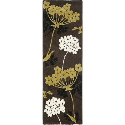 Rosario Brown/Green Area Rug Rug Size: Runner 24 x 67