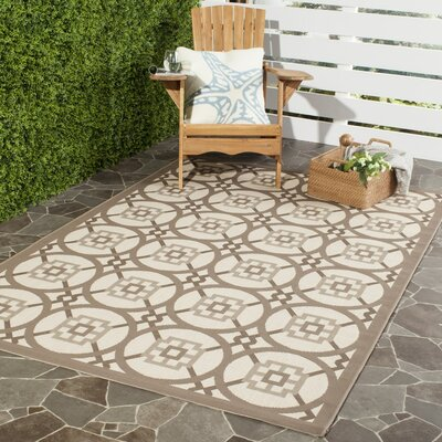 Short Beige Indoor/Outdoor Area Rug Rug Size: 53 x 77