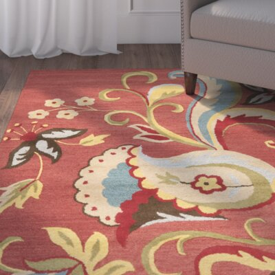 Ross Rust Floral Area Rug Rug Size: Square 6