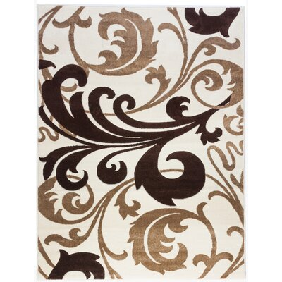 Everson Fleur De Lis Ivory Area Rug Rug Size: Rectangle 93 x 126