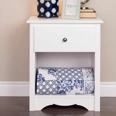 Sybil Tall White 1 Drawer Nightstand