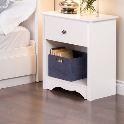 Hayman Tall White 1 Drawer Nightstand