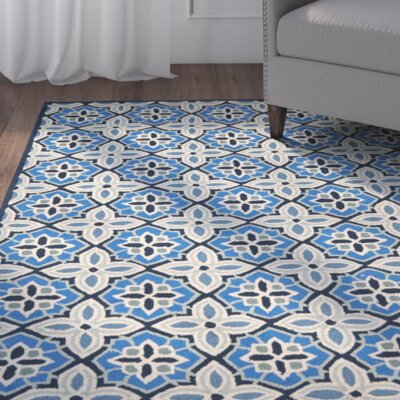 Doyle Blue Hooked Outdoor Area Rug Rug Size: Square 6