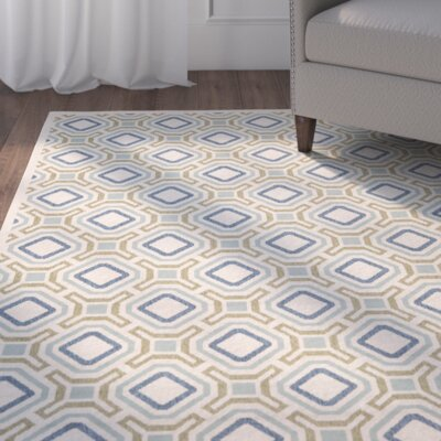 Tierney Cream & Green Inddor/Outdoor Area Rug Rug Size: 53 x 77