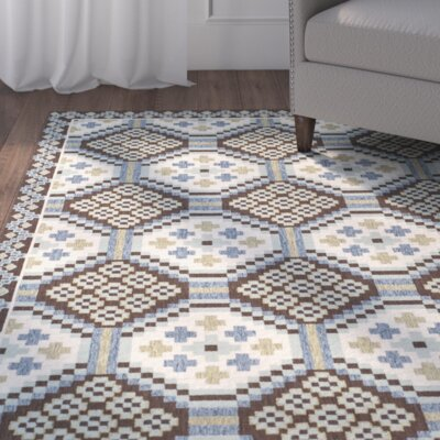 Tierney Blue/Chocolate Indoor/Outdoor Area Rug Rug Size: Rectangle 4 x 57