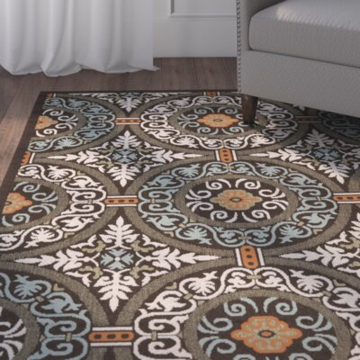 Tierney Chocolate/Aqua Area Rug Rug Size: Rectangle 53 x 77
