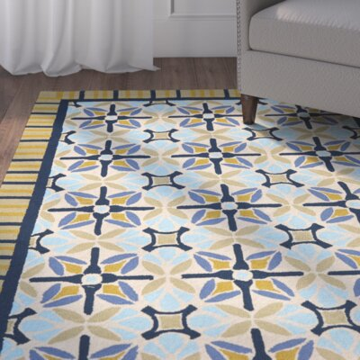 Doyle Tan/Blue Indoor/Outdoor Area Rug Rug Size: 36 x 56