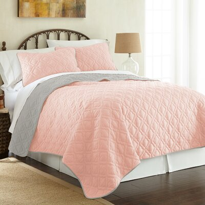 Peyton 3 Piece Reversible Coverlet Set Color: Leaf Blush/Silver, Size: Queen