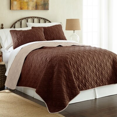 Peyton 3 Piece Reversible Coverlet Set Color: Deep Mahogony/Dew, Size: Queen