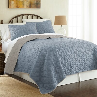 Peyton 3 Piece Reversible Coverlet Set Color: Denim/Silver, Size: Queen