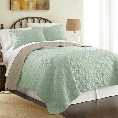 Peyton 3 Piece Reversible Coverlet Set Color: Jade/Atmosphere, Size: King