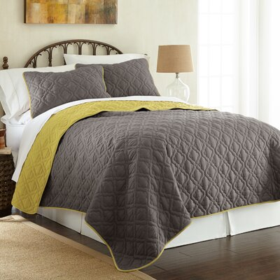 Peyton 3 Piece Reversible Coverlet Set Color: Steel Gray/Bamboo, Size: King