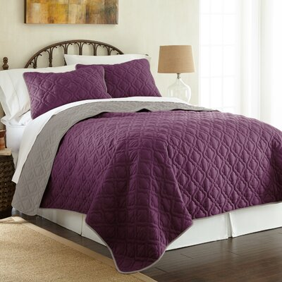Peyton 3 Piece Reversible Coverlet Set Color: Vintage Violet/Silver, Size: Queen